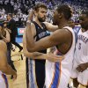 Memphis\' Marc Gasol (33) and Oklahoma City\'s Kevin Durant (35) talk after Game 5 in the second round of the NBA playoffs between the Oklahoma City Thunder and the Memphis Grizzlies at Chesapeake Energy Arena in Oklahoma City, Wednesday, May 15, 2013. Memphis won 88-84. Photo by Bryan Terry, The Oklahoman