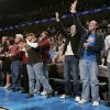 Fans react as the Thunder ties the score late in the second half as the Oklahoma City Thunder plays the Houston Rockets at the Ford Center in Oklahoma City, Okla. on Friday, January 9, 2009. Photo by Steve Sisney/The Oklahoman