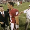 OU COLLEGE FOOTBALL, CONGRATULATE: University of Oklahoma head coach Bob Stoops congratulates Sam Bradford after the Sooners win against the University of North Texas Mean Green (UNT) at the Gaylord Family -- Oklahoma Memorial Stadium, on Saturday, Sept. 1, 2007, in Norman, Okla. By STEVE GOOCH, The Oklahoman ORG XMIT: KOD