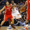 Oklahoma City\'s Serge Ibaka guards Houston\'s Luis Scola during their NBA basketball game at the OKC Arena in downtown Oklahoma City on Wednesday, Nov. 17, 2010. Photo by John Clanton, The Oklahoman