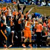 Oklahoma State\'s bench erupts after a big basket during the first half against Duke University in the women\'s NCAA Tournament at Cameron Indoor Stadium in Durham, North Carolina, Tuesday, March 26, 2013. (Greg Mintel/Raleigh News & Observer/MCT)