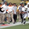 Oklahoma State coaches react to Oklahoma State\'s Brodrick Brown (19)interception during a college football game between the Oklahoma State University Cowboys (OSU) and the University of Missouri Tigers (Mizzou) at Faurot Field in Columbia, Mo., Saturday, Oct. 22, 2011. Photo by Sarah Phipps, The Oklahoman