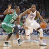 Oklahoma City Thunder small forward Kevin Durant (35) drives past Boston Celtics small forward Mickael Pietrus (28) during the NBA basketball game between the Oklahoma City Thunder and the Boston Celtics at the Chesapeake Energy Arena on Wednesday, Feb. 22, 2012 in Oklahoma City, Okla. Photo by Chris Landsberger, The Oklahoman
