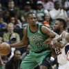 Boston Celtics forward Jeff Green (8) drives against Atlanta Hawks guard DeShawn Stevenson (92) in the first half of an NBA basketball game Friday, Jan. 25, 2013, in Atlanta. (AP Photo/John Bazemore)