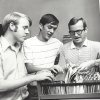 Bill Hancock, left, in the OU sports information office in 1970 with Don McGuire and Johnny Keith. PHOTO PROVIDED