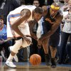Oklahoma City\'s Kevin Durant (35) steals the ball from Denver\'s Al Harrington (7) in the final minute of over time during the NBA basketball game between the Oklahoma City Thunder and the Denver Nuggets at the Chesapeake Energy Arena, Sunday, Feb. 19, 2012. Photo by Sarah Phipps, The Oklahoman