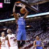 Oklahoma City\'s Kevin Durant (35) dunks the ball in front of Miami\'s LeBron James (6) during Game 4 of the NBA Finals between the Oklahoma City Thunder and the Miami Heat at American Airlines Arena, Tuesday, June 19, 2012. Photo by Bryan Terry, The Oklahoman