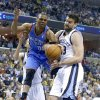 Memphis\' Marc Gasol (33) defends against Oklahoma City\'s Russell Westbrook (0) during Game 6 in the first round of the NBA playoffs between the Oklahoma City Thunder and the Memphis Grizzlies at FedExForum in Memphis, Tenn., Thursday, May 1, 2014. Photo by Bryan Terry, The Oklahoman