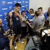 Steven Adams speaks during media access after the practice of the Oklahoma City Thunder on Friday, May 2, 2014 in Oklahoma City, Okla.. Photo by Steve Sisney, The Oklahoman
