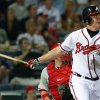 Atlanta Braves\' Chipper Jones follows through with a game-winning, two-run home run in the 10th inning of a baseball game against the Philadelphia Phillies in Atlanta, Wednesday, May 2, 2012. Atlanta won 15-13. (AP Photo/John Bazemore)