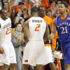 From left, OSU\'s James Anderson (23), Obi Muonelo (2) and Torin Walker (10) celebrate in front of KU\'s Markieff Morris (21) in the first half during the men\'s college basketball game between the University of Kansas (KU) and Oklahoma State University (OSU) at Gallagher-Iba Arena in Stillwater, Okla., Saturday, Feb. 27, 2010. Photo by Nate Billings, The Oklahoman
