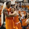 Oklahoma State\'s Cezar Guerrero (1) and Oklahoma State\'s Jean-Paul Olukemi (0) celebrate during an NCAA college basketball game between the Oklahoma State University Cowboys (OSU) and the University of Texas-San Antonio Roadrunners at Gallagher-Iba Arena in Stillwater, Okla., Wednesday, Nov. 16, 2011. Photo by Bryan Terry, The Oklahoman