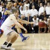 Kansas\' Travis Releford (24) and Oklahoma State \'s Phil Forte (13) battle for the loose ball in the final seconds of the game during the college basketball game between the Oklahoma State University Cowboys (OSU) and the University of Kanas Jayhawks (KU) at Gallagher-Iba Arena on Wednesday, Feb. 20, 2013, in Stillwater, Okla. Photo by Chris Landsberger, The Oklahoman