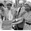 Plaque commemorating the Oklahoma Art Center draws pleased attention from Mayor Patience Latting, left, Mrs. Nan Sheets, Stanley Draper Sr. and Mrs. M. Briscoe Hoffman. Photo was taken on southeast corner of Sheridan and Robinson. Staff photo by Jim Argo taken 9/15/72