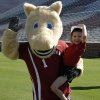 Photo - Javi Restrepo poses with one of the OU mascots during the multi-sport morning the OU athletic department organized for him.- Photo provided ORG XMIT: 0908122159547863
