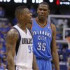 Oklahoma City\'s Kevin Durant (35) talks with DeShawn Stevenson (92) of Dallas during game 1 of the Western Conference Finals in the NBA basketball playoffs between the Dallas Mavericks and the Oklahoma City Thunder at American Airlines Center in Dallas, Tuesday, May 17, 2011. Photo by Bryan Terry, The Oklahoman