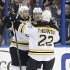Photo - Boston Bruins left wing Daniel Paille (20), center, celebrates with teammates Gregory Campbell, left, and Shawn Thornton (22) after scoring against the Tampa Bay Lightning during the second period of an NHL hockey game on Saturday, March 8, 2014, in Tampa, Fla. (AP Photo/Chris O'Meara)