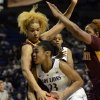 Penn State\'s Ariel Edwards (23) looks for shot past Minnesota\'s Micaella Riche, left, and Leah Cotton during the first half of an NCAA college basketball game in State College, Pa., Thursday, Jan. 24, 2013. (AP Photo/Ralph Wilson)