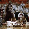 Oklahoma\'s Je\'Lon Hornbeak (5) throws the ball away from Louisiana\'s Trent Mackey (5) and Amos Olatayo (10) during a men\'s college basketball game between the University of Oklahoma and the University of Louisiana-Monroe at the Loyd Noble Center in Norman, Okla., Sunday, Nov. 11, 2012. Photo by Garett Fisbeck, The Oklahoman