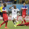 Ghana\'s Andre Ayew, centre, celebrates after scoring his sides first goal during the group G World Cup soccer match between Ghana and the United States at the Arena das Dunas in Natal, Brazil, Monday, June 16, 2014. (AP Photo/Dolores Ochoa)