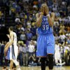 Oklahoma City\'s Kevin Durant (35) reacts after Memphis\' Tony Allen (9) stole a Thunder inbounds pass with 21.1 second left in overtime during Game 4 of the second-round NBA basketball playoff series between the Oklahoma City Thunder and the Memphis Grizzlies at FedExForum in Memphis, Tenn., Monday, May 13, 2013. Memphis won 103-97 in overtime. Photo by Nate Billings, The Oklahoman