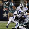 Philadelphia Eagles\' Bryce Brown (34) hurdles through the Dallas Cowboys defense during the first half of their NFL football game, Sunday, Dec. 2, 2012, in Arlington, Texas. (AP Photo/Philadelphia Daily News, Ron Cortes) THE EVENING BULLETIN OUT, TV OUT; MAGS OUT; NO SALES