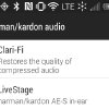 Photo - This screen shot shows settings for Harman Kardon's Clari-Fi and LiveStage features on an Android phone. Clari-Fi aims to restore some of the audio signal that is lost because of digital compression in today's download and streaming formats. LiveStage claims to tune your listening experience to the specific Harman Kardon earphones you are wearing. (AP Photo)