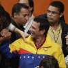 Opposition presidential candidate Henrique Capriles, center, is greeted by supporters after he conceded defeat in the presidential elections at his campaign headquarters in Caracas, Venezuela, Sunday, Oct. 7, 2012. Venezuela\'s electoral council said late Sunday President Hugo Chavez has won re-election, defeating challenger Henrique Capriles. (AP Photo/Ariana Cubillos)