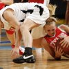 Carl Albert High School\'s Brittni Walker, right, gets a loose ball from Coweta High School\'s Jenni Bryan during the girls class 5A semifinals game at the Ford Center on Friday, March 7, 2008, in Oklahoma City, Okla. BY CHRIS LANDSBERGER, THE OKLAHOMAN