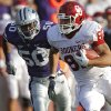Oklahoma Sooners\' James Hanna (82)runs after a catch past Kansas State Wildcats\' Nick Puetz (50) during the college football game between the University of Oklahoma Sooners (OU) and the Kansas State University Wildcats (KSU) at Bill Snyder Family Stadium on Saturday, Oct. 29, 2011. in Manhattan, Kan. Photo by Chris Landsberger, The Oklahoman ORG XMIT: KOD