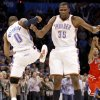 CELEBRATION: Oklahoma City\'s Russell Westbrook and Kevin Durant celebrate during the NBA basketball game between the Oklahoma City Thunder and the Chicago Bulls in the Oklahoma City Arena on Wednesday, Oct. 27, 2010. Photo by Bryan Terry, The Oklahoman ORG XMIT: KOD