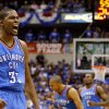 Oklahoma City\'s Kevin Durant celebrates during Game 3 of the first round in the NBA playoffs between the Oklahoma City Thunder and the Dallas Mavericks at American Airlines Center in Dallas, Thursday, May 3, 2012. Oklahoma City won 95-79. Photo by Bryan Terry, The Oklahoman