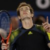 Britain\'s Andy Murray reacts after winning his men\'s semifinal against Switzerland\'s Roger Federer at the Australian Open tennis championship in Melbourne, Australia, Friday, Jan. 25, 2013. (AP Photo/Dita Alangkara)