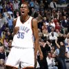 CELEBRATE / CELEBRATION / REACT / REACTION: Oklahoma City\'s Kevin Durant reacts after dunking the ball in overtime during the NBA basketball game between the Oklahoma City Thunder and the Memphis Grizzlies at the Ford Center in Oklahoma City, Wednesday, January 28, 2009. The Thunder won in overtime, 114-102. BY NATE BILLINGS, THE OKLAHOMAN ORG XMIT: KOD