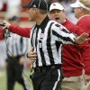 Oklahoma coach Bob Stoops argues with an official after a flag during a college football game between the University of Oklahoma (OU) and Texas Tech University at Jones AT&T Stadium in Lubbock, Texas, Saturday, Oct. 6, 2012. Oklahoma won 41-20. Photo by Bryan Terry, The Oklahoman