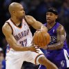 Oklahoma City\'s Derek Fisher (37) passes away from Sacramento\'s Isaiah Thomas (22) during the NBA basketball game between the Oklahoma City Thunder and the Sacramento Kings at Chesapeake Energy Arena in Oklahoma City, Friday, April 13, 2012. Oklahoma City won, 115-89. Photo by Nate Billings, The Oklahoman