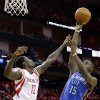Oklahoma City\'s Reggie Jackson (15) shoots over Houston\'s Patrick Beverley during Game 6 in the first round of the NBA playoffs between the Oklahoma City Thunder and the Houston Rockets at the Toyota Center in Houston, Texas, Friday, May 3, 2013. Photo by Bryan Terry, The Oklahoman