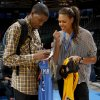 Oklahoma City\'s Kevin Durant exchanges autograpghed jerseys with Tulsa Shock draft pick Elizabeth Cambage after the NBA basketball game between the Oklahoma City Thunder and the Milwaukee Bucks at the Oklahoma City Arena, Wednesday, April 13, 2011. Photo by Bryan Terry, The Oklahoman