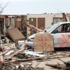 Homes destroyed in the tornados with big address markers so insurance companies can find them in the neighborhood behind the Warren Theater, Thursday, May 23, 2013. Photo by David McDaniel, The Oklahoman