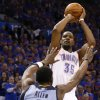 Oklahoma City\'s Kevin Durant (35) shoots over Memphis\' Tony Allen (9) during Game 7 in the first round of the NBA playoffs between the Oklahoma City Thunder and the Memphis Grizzlies at Chesapeake Energy Arena in Oklahoma City, Saturday, May 3, 2014. Photo by Nate Billings, The Oklahoman