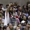 A San Antonio Spurs fans gestures during the first quarter of the Spurs\' NBA basketball game against the Memphis Grizzlies, Saturday, Dec. 1, 2012, in San Antonio. (AP Photo/Eric Gay)