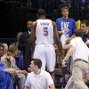 Oklahoma City\'s Kendrick Perkins (5) walks off the court after an injury during Game 1 in the second round of the NBA playoffs between the Oklahoma City Thunder and L.A. Lakers at Chesapeake Energy Arena in Oklahoma City, Monday, May 14, 2012. Oklahoma City won 119-90. Photo by Bryan Terry, The Oklahoman