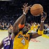 Phoenix Suns center Jermaine O\'Neal, left, and Los Angeles Lakers forward Antawn Jamison battle for a rebound during the first half of their NBA basketball game, Friday, Nov. 16, 2012, in Los Angeles. (AP Photo/Mark J. Terrill)