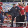 Venezuela\'s President Hugo Chavez, second from right, dances after delivering a speech during his closing campaign rally in Caracas, Venezuela, Thursday, Oct. 4, 2012. Chavez is running for re-election against opposition candidate Henrique Capriles in presidential elections on Oct . 7. (AP Photo/Ariana Cubillos)