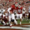 Oklahoma\'s Blake Bell (10) scores a touchdown during the college football game between the Texas A&M Aggies and the University of Oklahoma Sooners (OU) at Gaylord Family-Oklahoma Memorial Stadium on Saturday, Nov. 5, 2011, in Norman, Okla. Photo by Bryan Terry, The Oklahoman