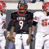 East Central\'s Trevaughn Cherry (9) reacts after another offensive penalty during the Class 5A Oklahoma state championship football game between Carl Albert High School and Tulsa East Central High School at Boone Pickens Stadium on Saturday, Dec. 1, 2012, in Stillwater, Okla. Photo by Chris Landsberger, The Oklahoman