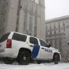 Photo - A Homeland Security vehicle sits in front of a federal court in New York on March 8, 2013, where Sulaiman Abu Ghaithwhere, a senior al-Qaida leader and son-in-law of Osama bin Laden, pleaded not guilty to plotting against Americans in his role as the terror network's top spokesman.  The case marks a legal victory for the Obama administration, which has long sought to charge senior al-Qaida suspects in U.S. federal courts instead of holding them at the military detention center at Guantanamo Bay, Cuba. Charging foreign terror suspects in federal courts was a top pledge by President Barack Obama shortly after he took office in 2009, aimed, in part, to close Guantanamo Bay. (AP Photo/Peter Morgan)