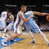 Oklahoma City\'s Cole Aldrich (45) blocks Denver\'s JaVale McGee (34) during the NBA preseason basketball game between the Oklahoma City Thunder and the Denver Nuggets at the Chesapeake Energy Arena, Sunday, Oct. 21, 2012. Photo by Garett Fisbeck, The Oklahoman