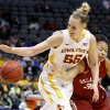 Oklahoma\'s Portia Durrett (31) tries to get the ball frm Iowa State\'s Anna Prins (55) during the Big 12 tournament women\'s college basketball game between the University of Oklahoma and Iowa State University at American Airlines Arena in Dallas, Sunday, March 10, 2012. Oklahoma lost 79-60. Photo by Bryan Terry, The Oklahoman