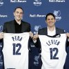 Photo -   Memphis Grizzlies new chairman Robert J. Pera, left, and new chief executive officer Jason Levien smile during a press conference in Memphis, Tenn., Monday, Nov. 5, 2012. (AP Photo/Lance Murphey)
